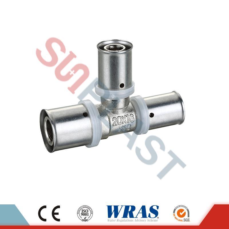 T de redução da imprensa de bronze para o tubo Multilayer de PEX-AL-PEX